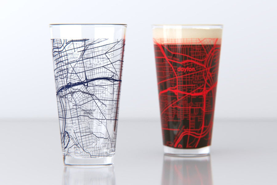 Dayton, OH - University of Dayton  - College Town Map Pint Glass Set