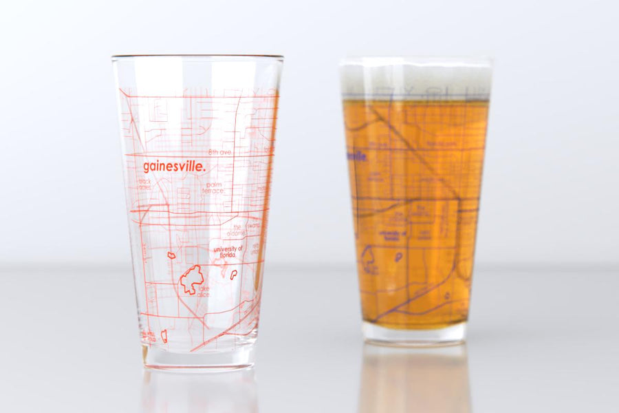 Gainesville, FL - University of Florida - College Town Map Pint Glass Pair