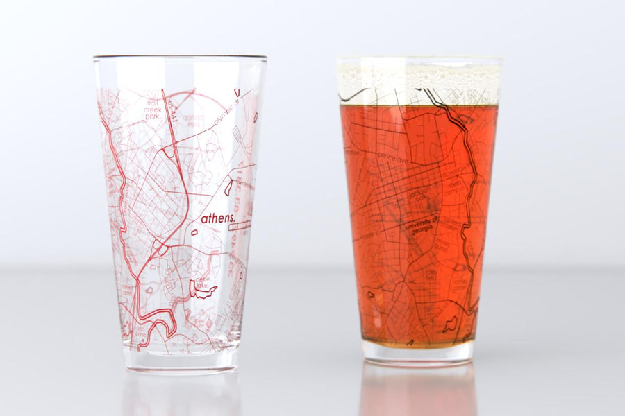 Athens, GA - University of Georgia - College Town Map Pint Glass Pair