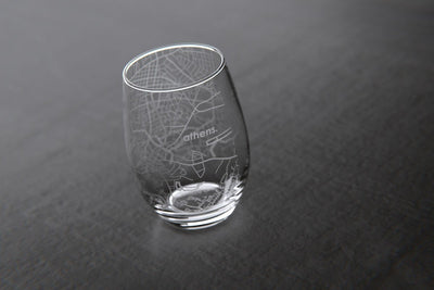 Athens, GA - University of Georgia - College Town Maps Stemless Wine Glass