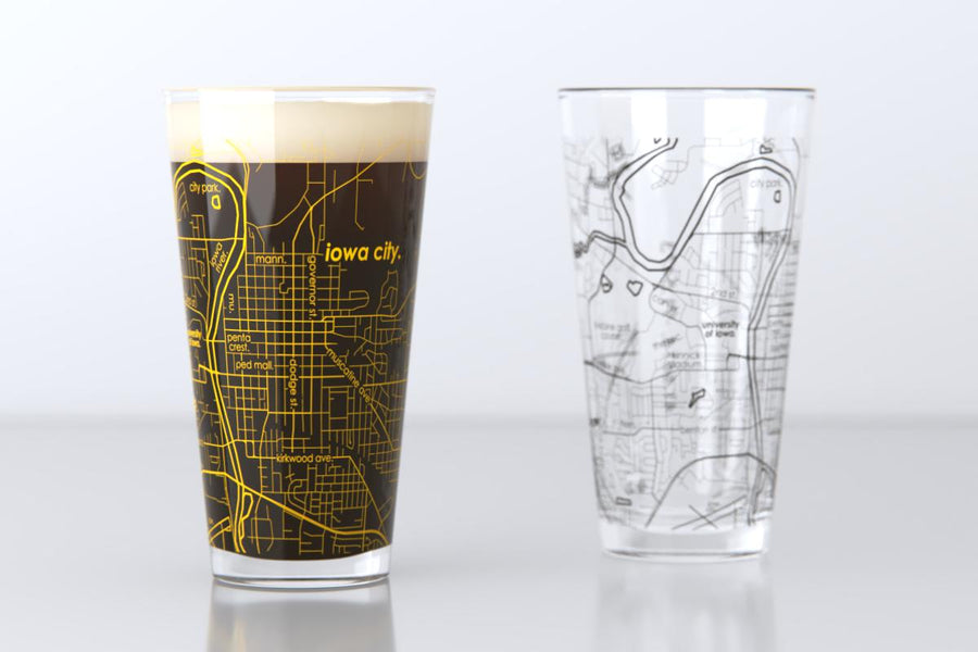 Iowa City, IA - University of Iowa - College Town Map Pint Glass Pair