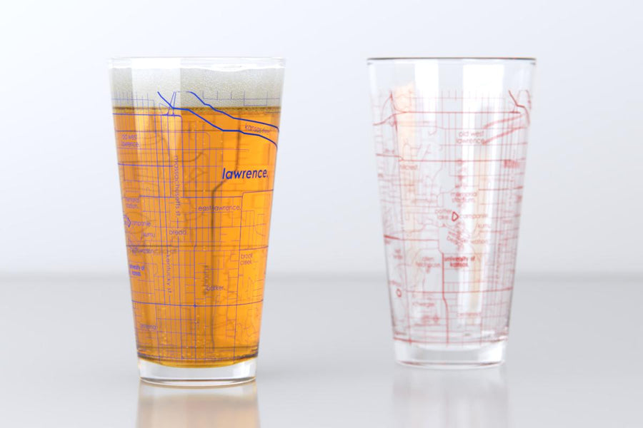 Lawrence, KS - University of Kansas - College Town Map Pint Glass Pair