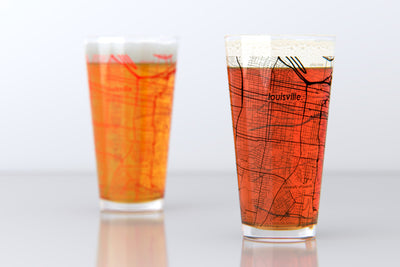 Louisville, KY- University of Louisville - College Town Map Pint Glass Pair