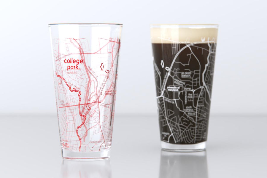 College Park, MD - University of Maryland - College Town Map Pint Glass Pair