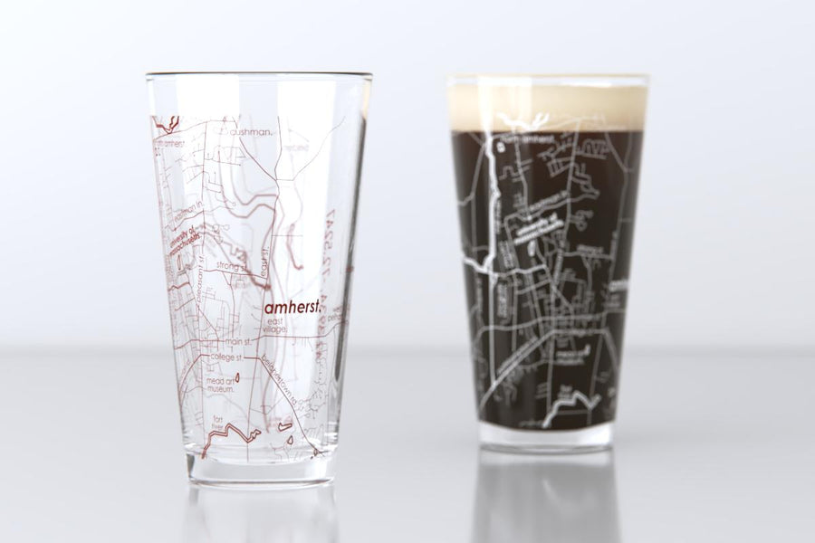 Amherst, MA - University of Massachusetts - College Town Map Pint Glass Pair