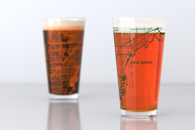 Coral Gables, FL - University of Miami - College Town Map Pint Glass Pair