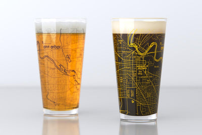 Ann Arbor, MI - University of Michigan - College Town Map Pint Glass Pair