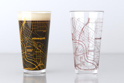 Minneapolis, MN - University of Minnesota - College Town Map Pint Glass Pair