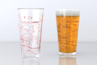Oxford, MS - Ole Miss - College Town Map Pint Glass Pair