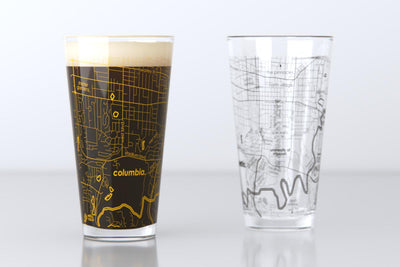 Columbia, MO - University of Missouri - College Town Map Pint Glass Pair