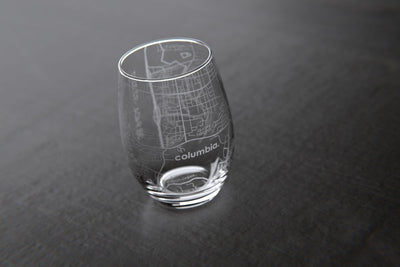 Columbia, MO - University of Missouri - College Town Maps Stemless Wine Glass