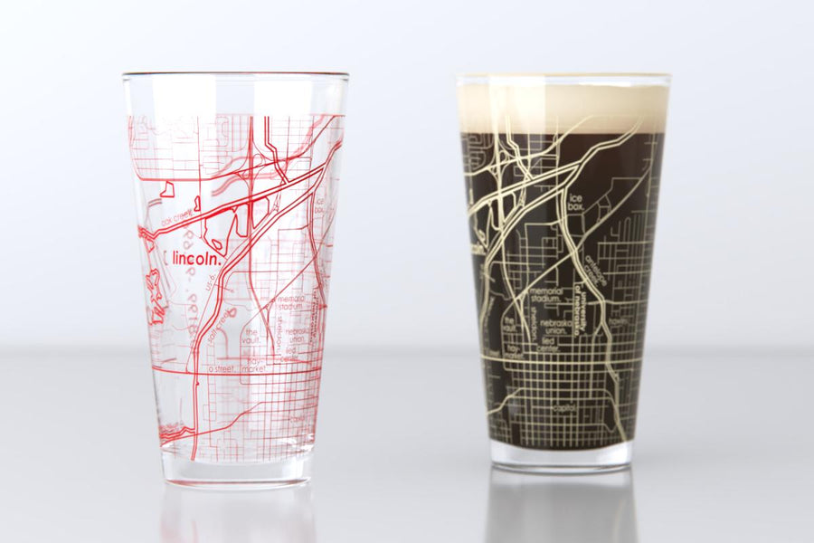 Lincoln, NE - University of Nebraska - College Town Map Pint Glass Pair