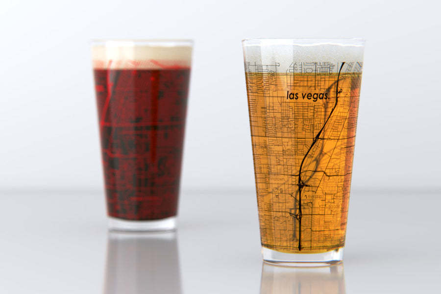 Las Vegas, NV - UNLV - College Town Map Pint Glass Set