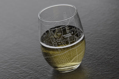 College Town Maps Stemless Wine Glass