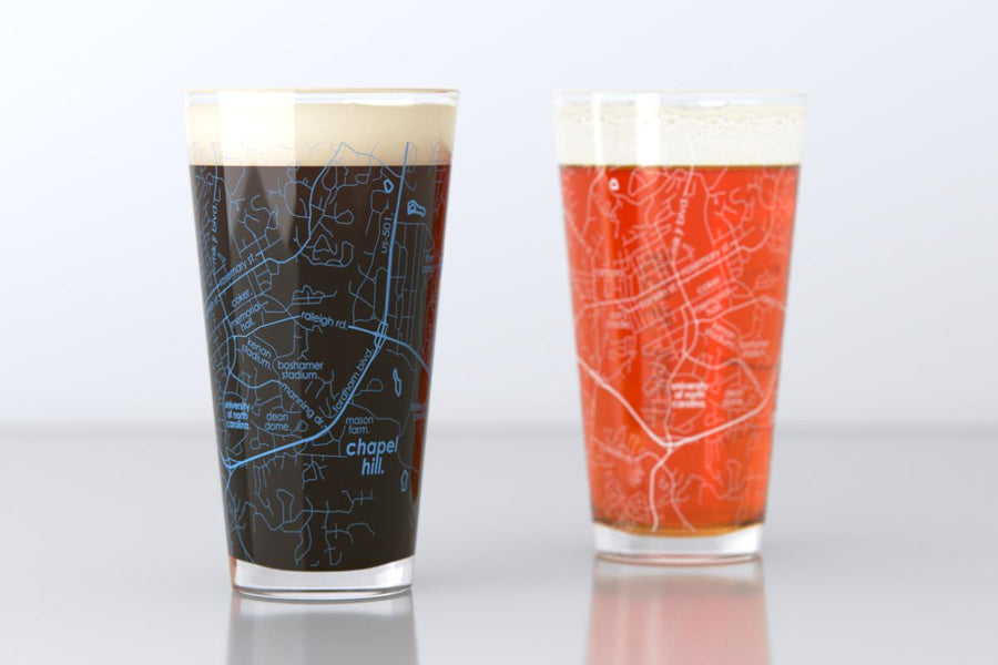 Chapel Hill, NC - UNC - College Town Map Pint Glass Pair