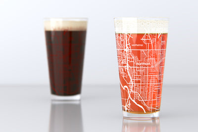 Norman, OK - University of Oklahoma - College Town Map Pint Glass Set