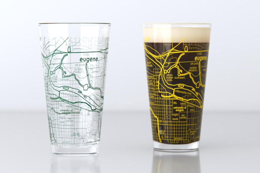 Eugene, OR - University of Oregon - College Town Map Pint Glass Pair