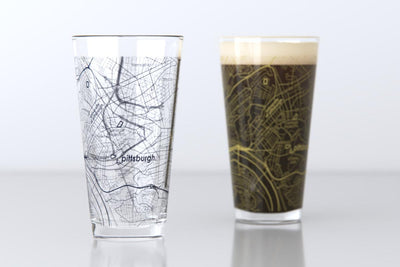 Pittsburgh, PA - University of Pittsburgh - College Town Map Pint Glass Pair