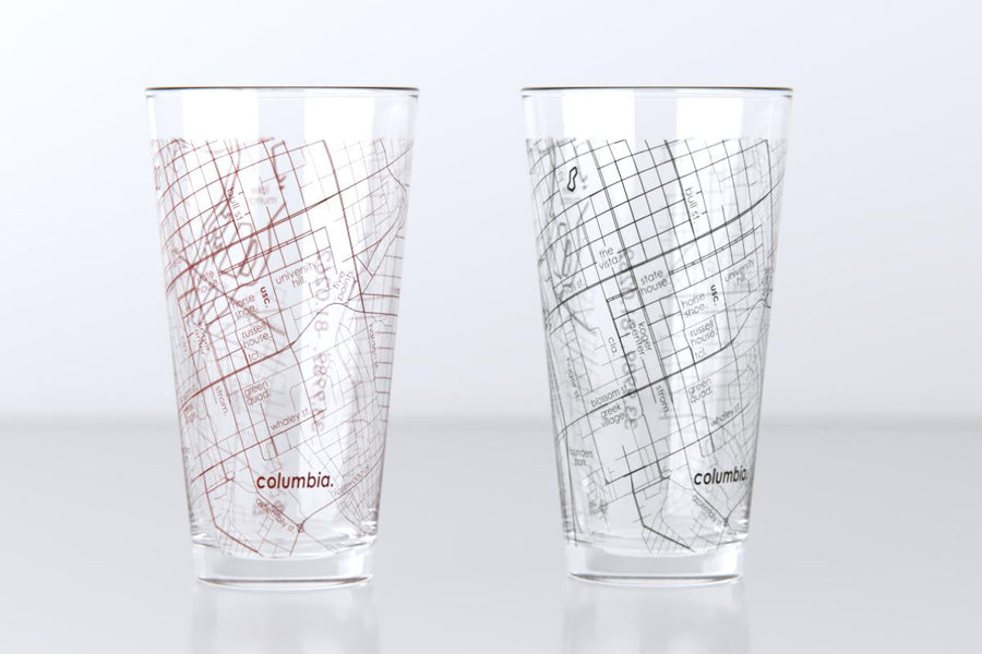 Columbia, SC - University of South Carolina - College Town Map Pint Glass Pair