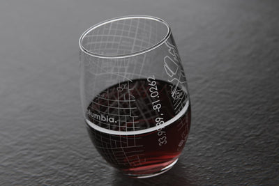 Columbia, SC - University of South Carolina - College Town Maps Stemless Wine Glass