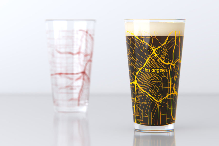 Los Angeles, CA - USC - College Town Map Pint Glass Pair