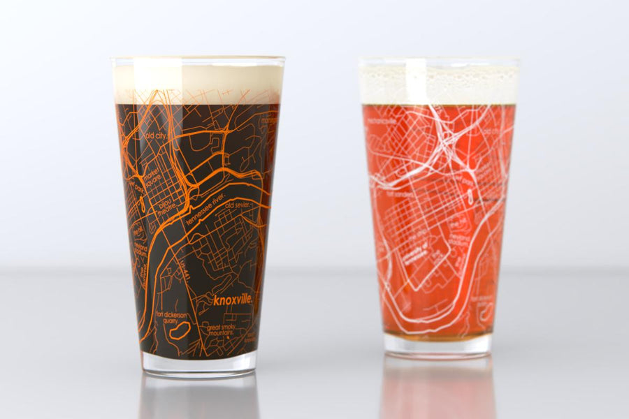 Knoxville, TN - University of Tennessee - College Town Map Pint Glass Pair