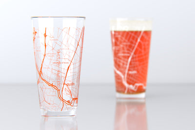 Austin, TX - University of Texas - College Town Map Pint Glass Pair