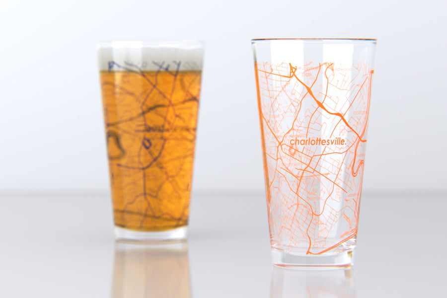 Charlottesville, VA - UVA - College Town Map Pint Glass Pair