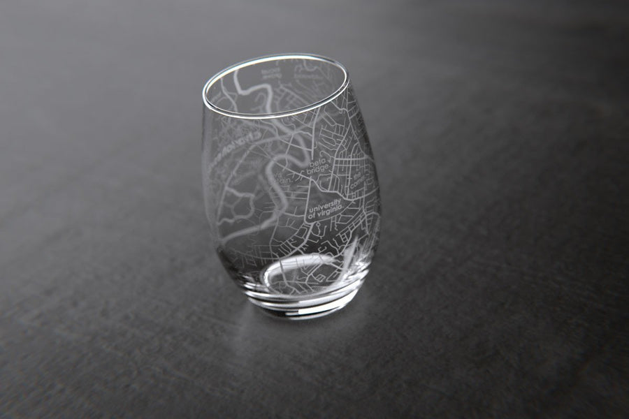 Charlottesville, VA - UVA - College Town Maps Stemless Wine Glass