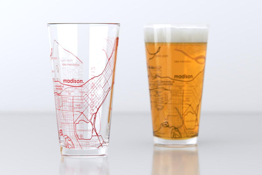 Madison, WI - University of Wisconsin - College Town Map Pint Glass Pair