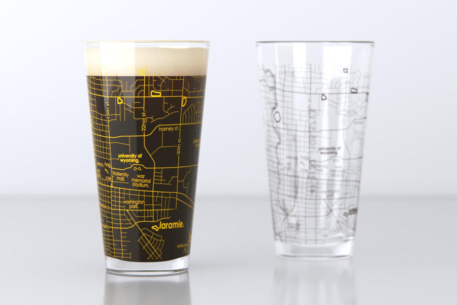 Laramie, WY - University of Wyoming - College Town Map Pint Glass Pair