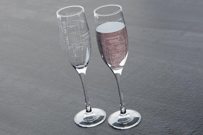 College Town Maps Stemmed Champagne Flute Pair