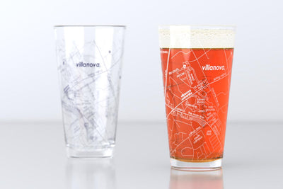 Villanova, PA - Villanova University - College Town Map Pint Glass Pair