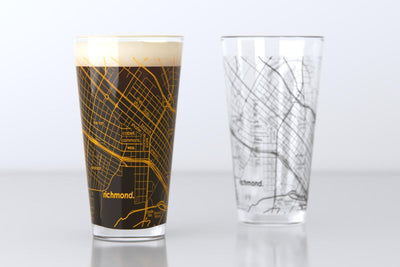 Richmond, VA - VCU - College Town Map Pint Glass Pair