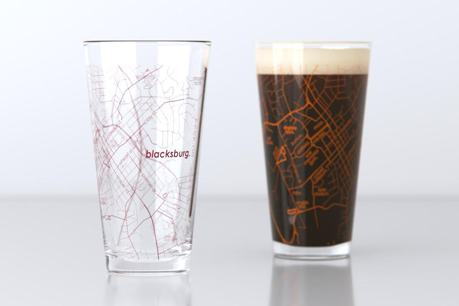 Blacksburg, VA - Virginia Tech - College Town Map Pint Glass Pair