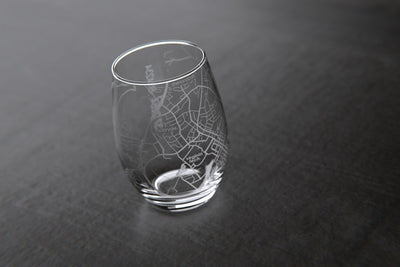 Blacksburg, VA - Virginia Tech - College Town Maps Stemless Wine Glass