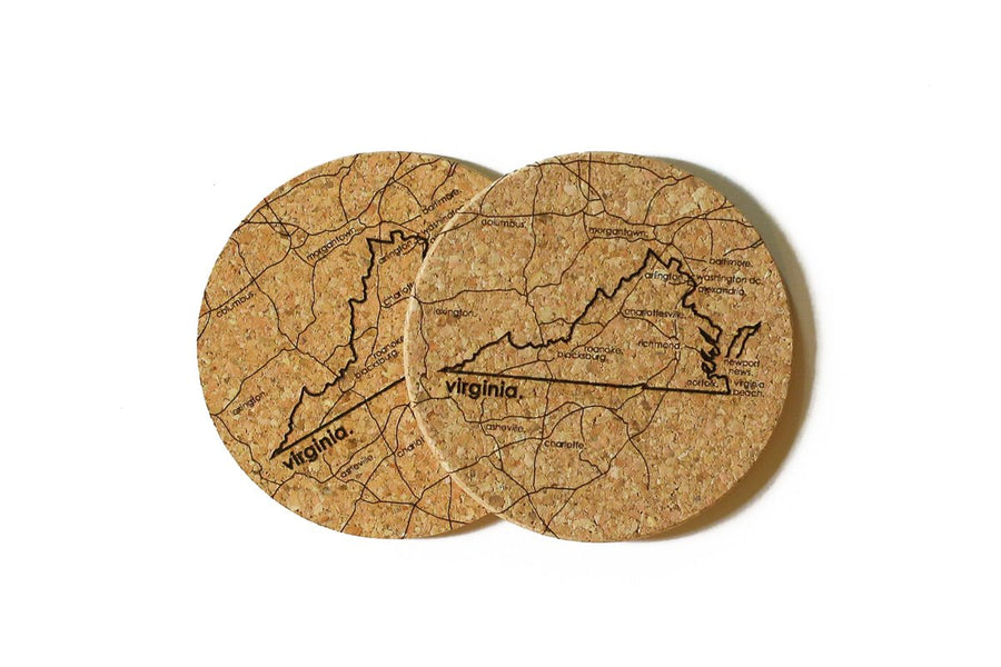 Virginia - Cork Coaster Pair