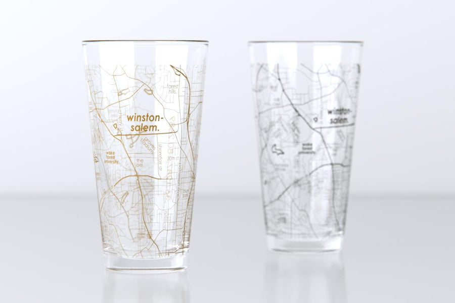 Winston-Salem, NC - Wake Forest University - College Town Map Pint Glass Pair