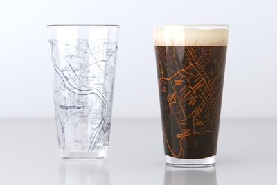 Morgantown, WV - West Virginia University - College Town Map Pint Glass Pair