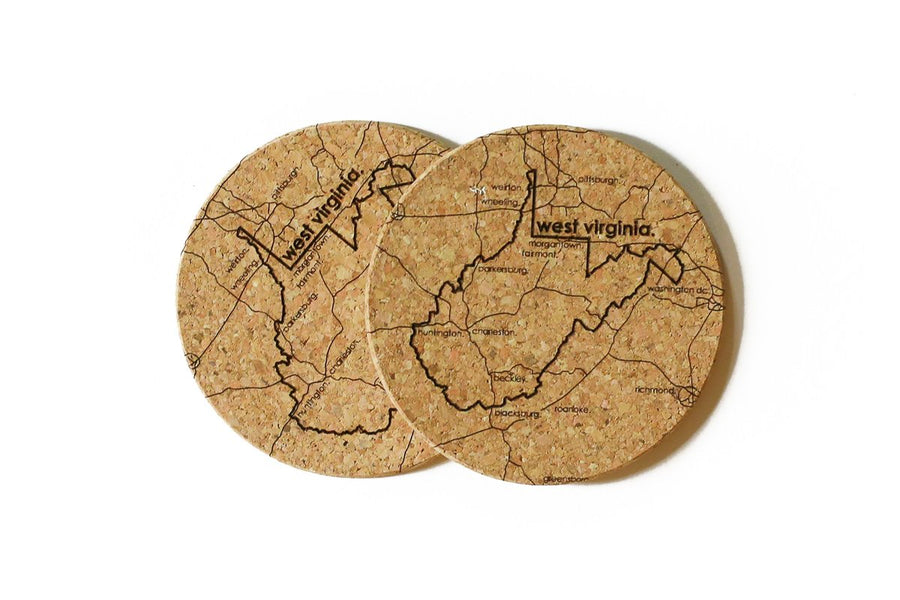 West Virginia - Cork Coaster Pair