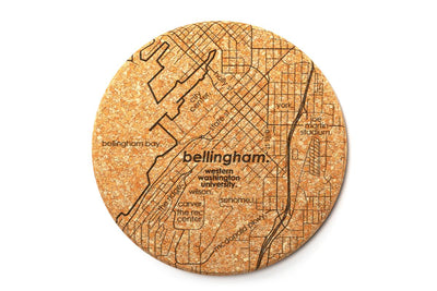 College Town Map - Cork Coaster Pair
