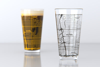 Wichita, KS - Wichita State - College Town Map Pint Glass Set