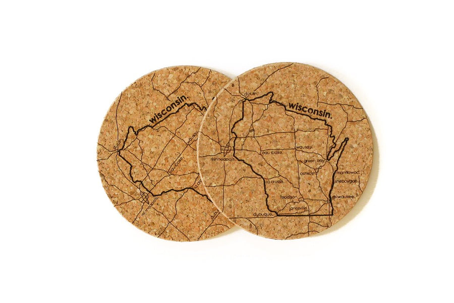 Wisconsin - Cork Coaster Pair