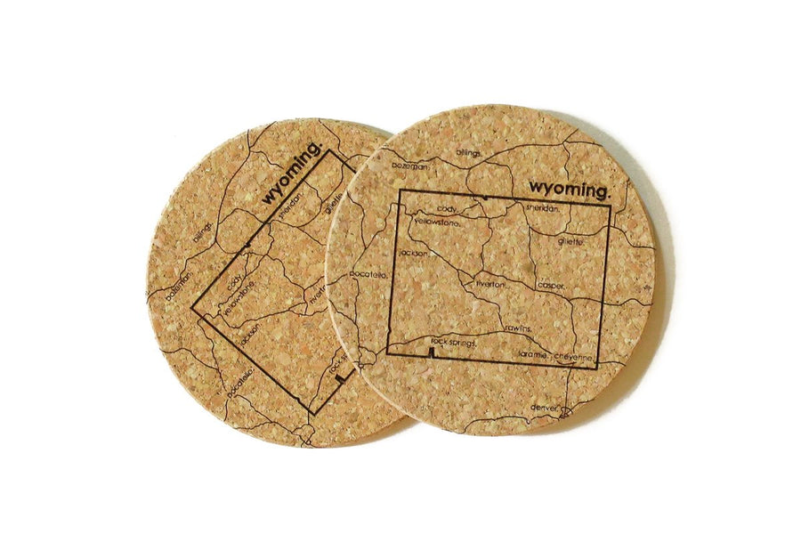 Wyoming - Cork Coaster Pair