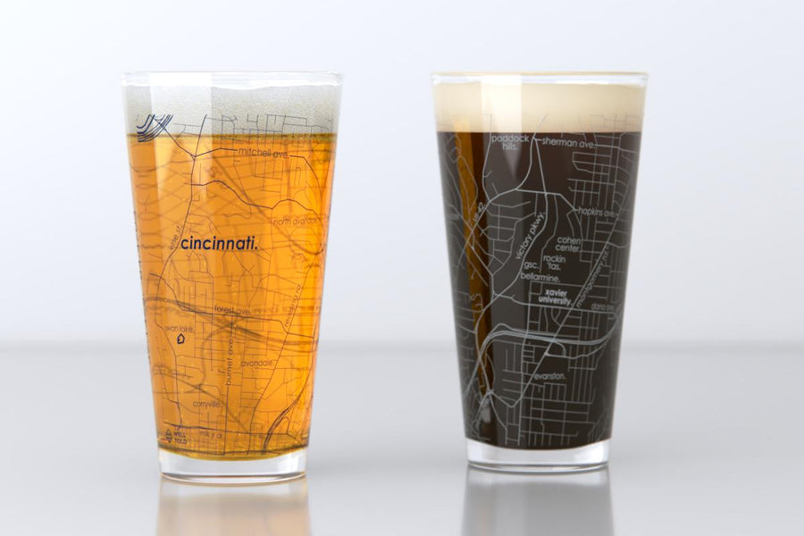 Cincinnati, OH - Xavier - College Town Map Pint Glass Pair