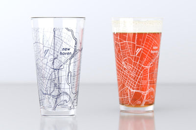 New Haven, CT - Yale - College Town Map Pint Glass Pair