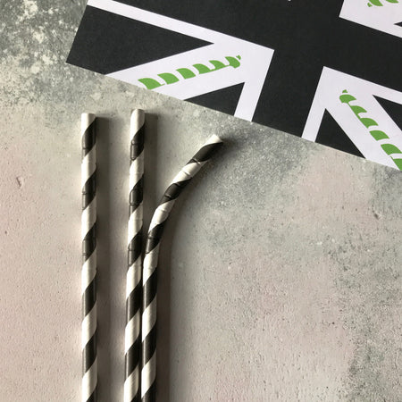 BENDY CLASSIC Striped Tipi Paper Straws - Black Stripe
