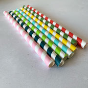 FAT LONG 8mm Bulk Paper Straws - Rainbow Mix