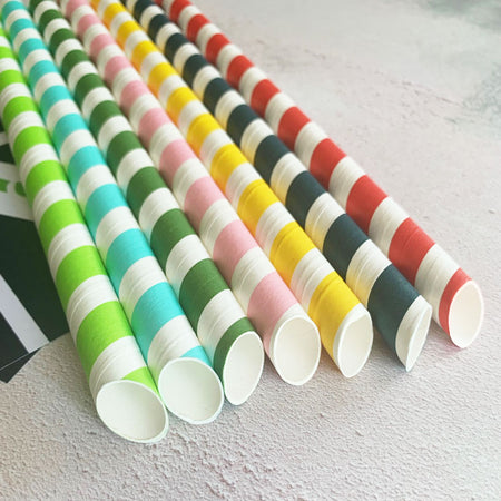 DEAL DOUBLE - Bubble Tea Cut End Eco Paper Spoon Straw RAINBOW Mix