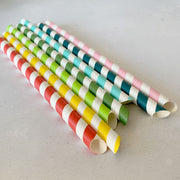BUBBLE TEA 45o Sharp End Bulk Paper Straws - RAINBOW MIX